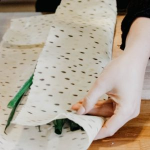 beeswax wrap around herbs