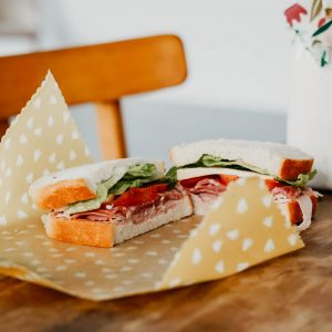 beeswax wrap used with sandwich