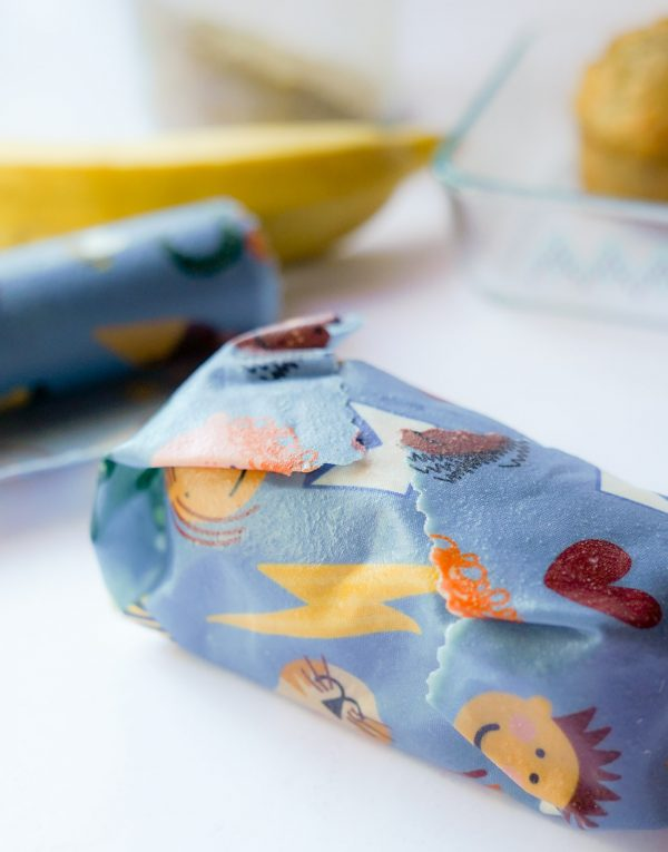 snack wrapped in fun beeswax wrap design