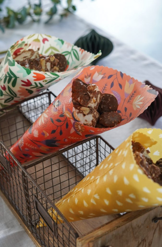 beeswax wraps used as lolly bags