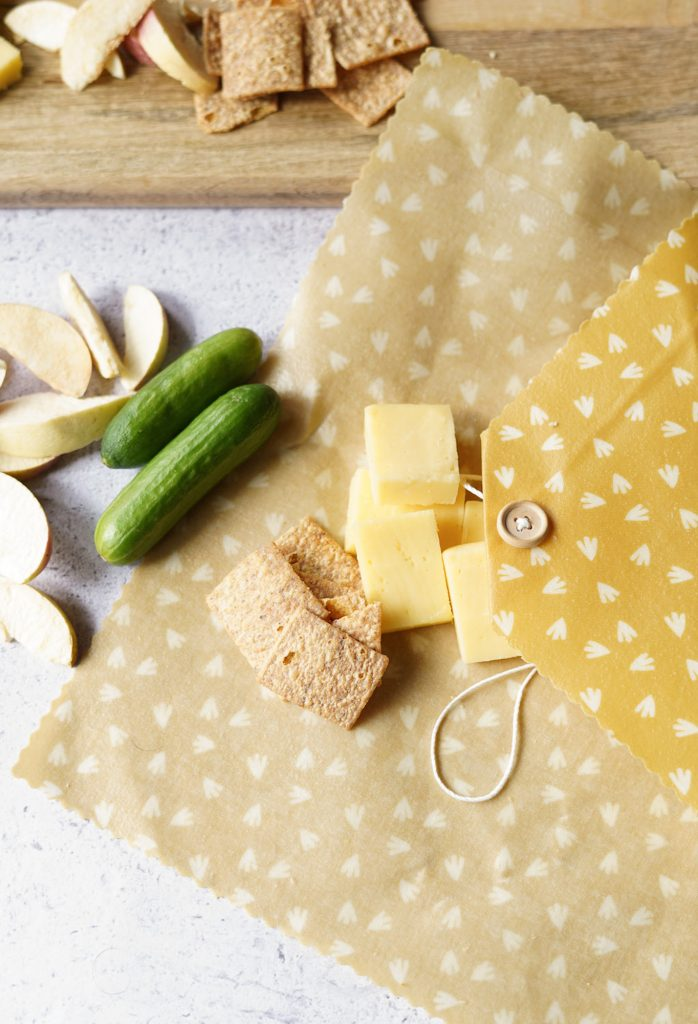 variety of snacks in beeswax wrap